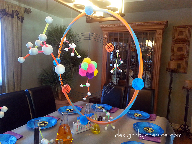 Mad scientist birthday party mad scientists hula hoop for Hula hoop decorations