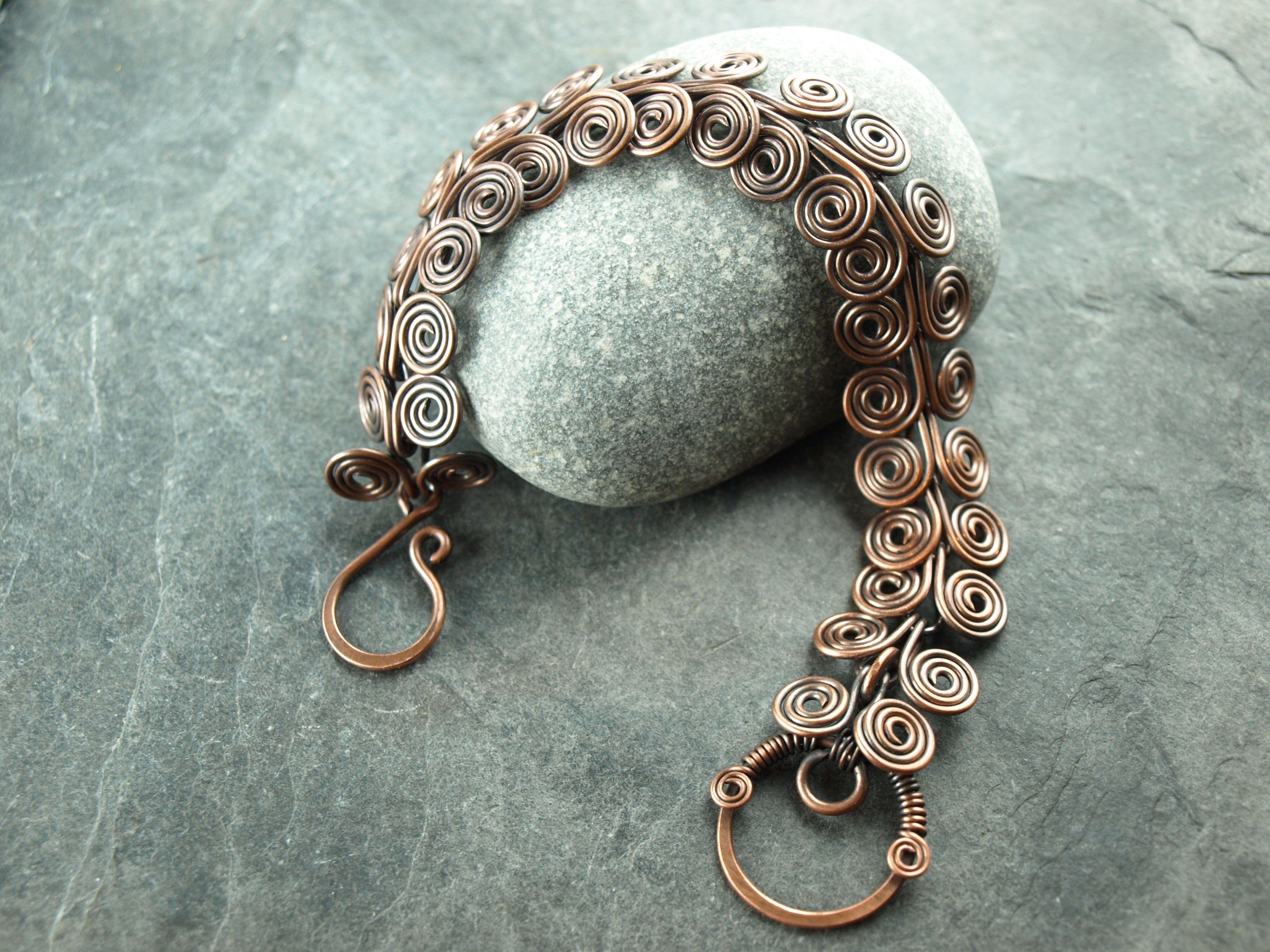 Armband Kupfer antik, copper,Spiralen,wire work, Drahtschmuck ...
