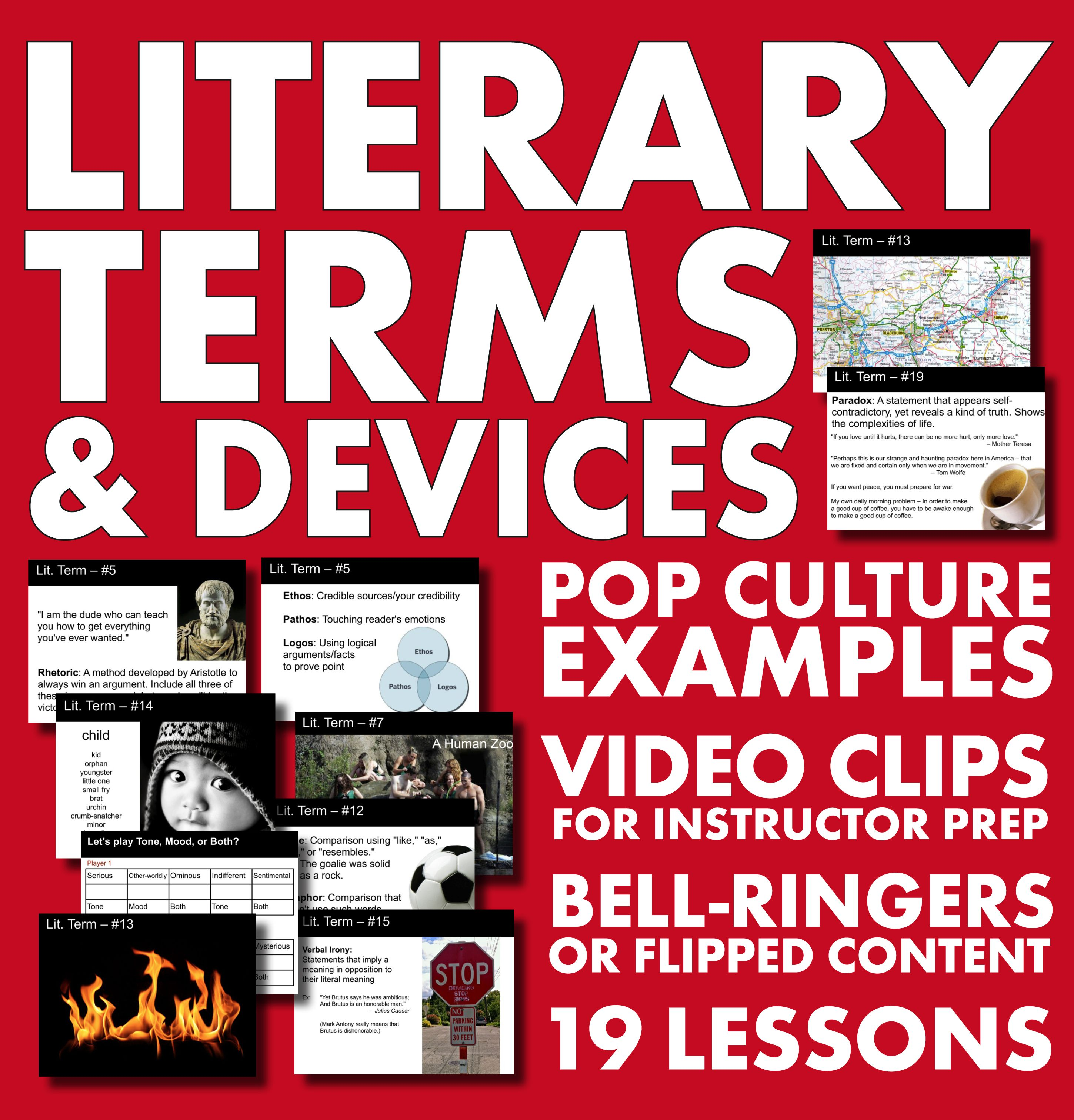 Literary Terms/Devices – 19 Weekly Lectures, Bell-Ringers or Flipped ...