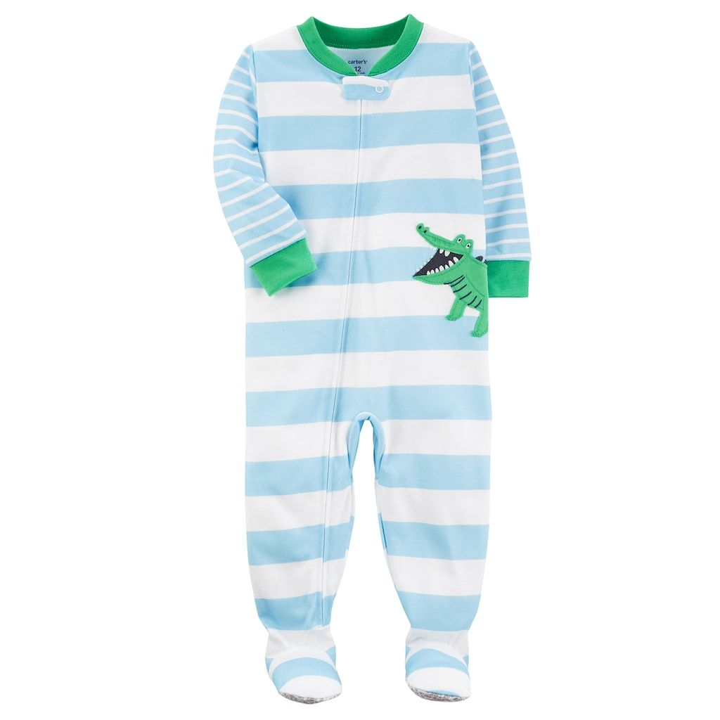 5aac525e7410 Toddler Boy Carter s Alligator Applique Striped Footed Pajamas in ...