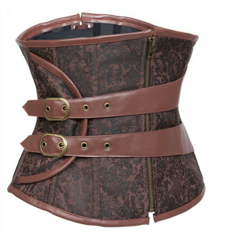STEAMPUNK Brown Brocade Gothic Lace Up Boned Steampunk Underbust Corset