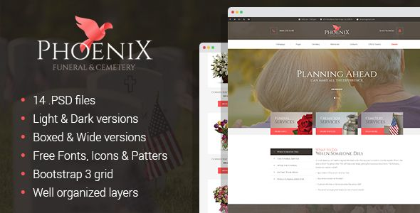 Phoenix - Funeral Service, Funeral Home \ Cemetery PSD Template - funeral announcements template