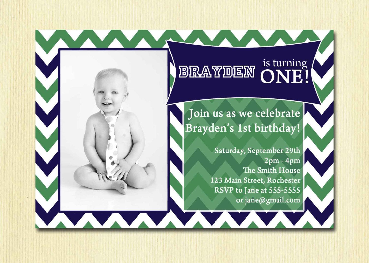 Chevron First 1st Birthday Party Invitations Baby Boy