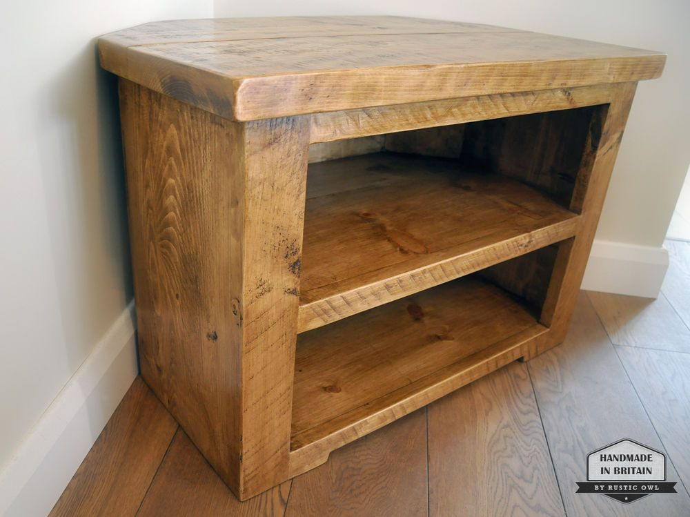 Rustic Pine Corner Tv Unit Solid Chunky Wood Stand Cabinet With Shelves