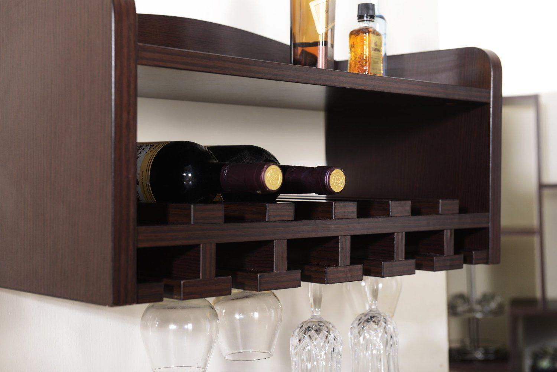 Furniture Of America Venire Wall Mounted Wine Rack And Gl Holder Walnut Decor