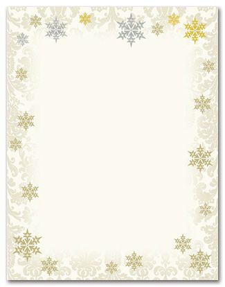 Holiday Stationery Letterhead Gold Silver Foil Flakes