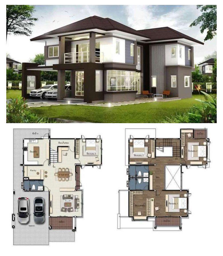Gorgeous 2 Storey House Concept With 4 Bedrooms Affordable Contemporary House Plans Affordablecontemporaryhousepl Di 2021 Arsitektur Arsitektur Modern Rumah Indah