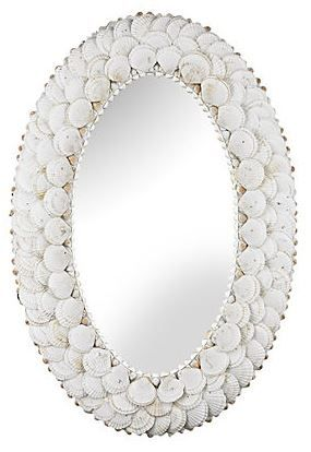 White Mother Of Pearl Oval Mirror Traditional Design - Contemporary oval mirrors