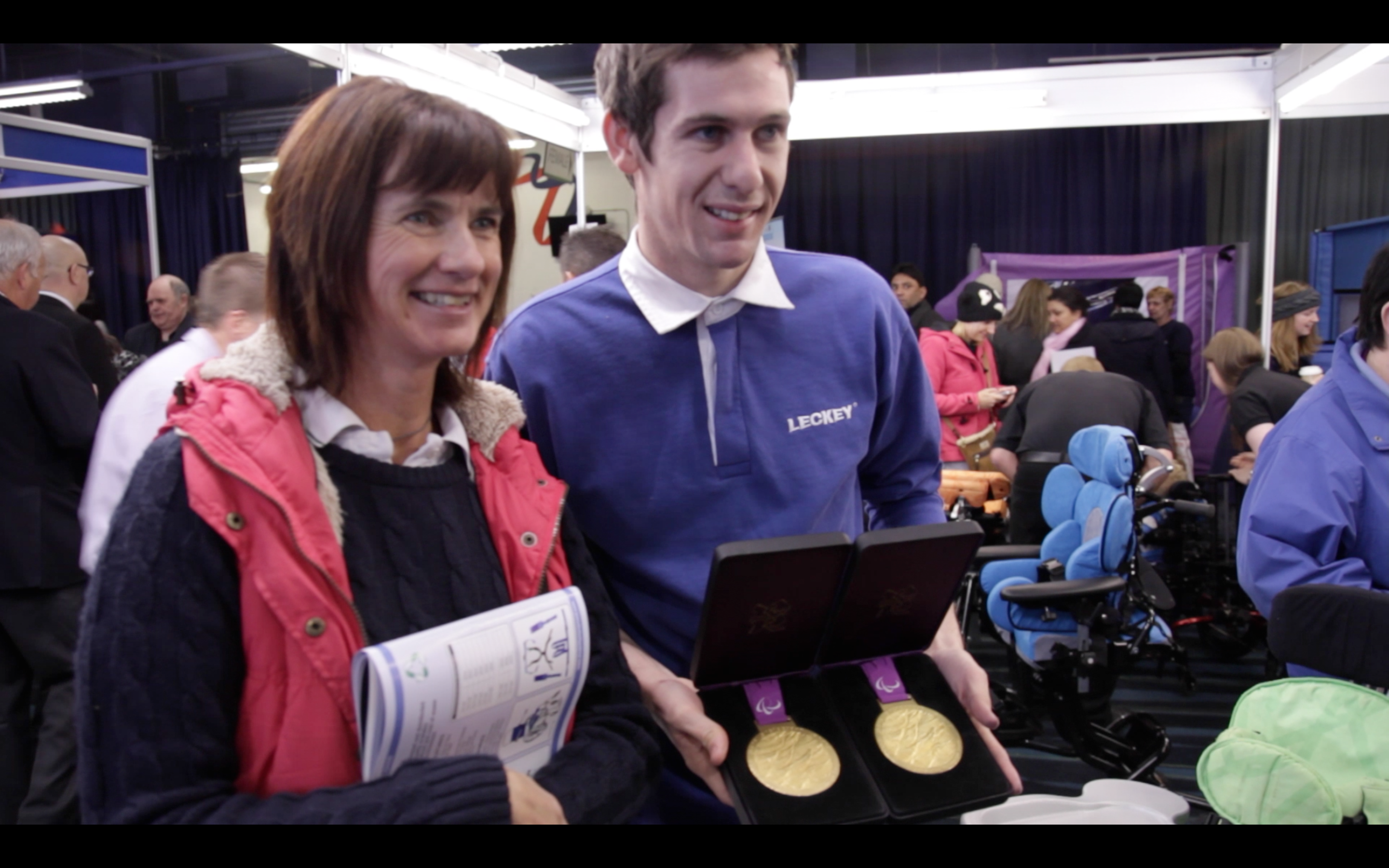 Michael McKillop with his Paralympic Gold Medals at Kidz up North 2012.