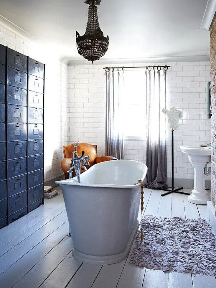 Glamorous Bathroom with Filing Cabinets from Living Etc