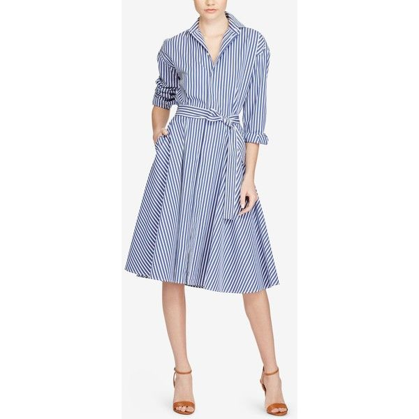 adf3e2d7654b Polo Ralph Lauren Striped Cotton Shirtdress ( 245) ❤ liked on Polyvore  featuring dresses
