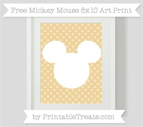 Free Pastel Bright Orange Dotted Pattern Mickey Mouse 8x10 Art Print