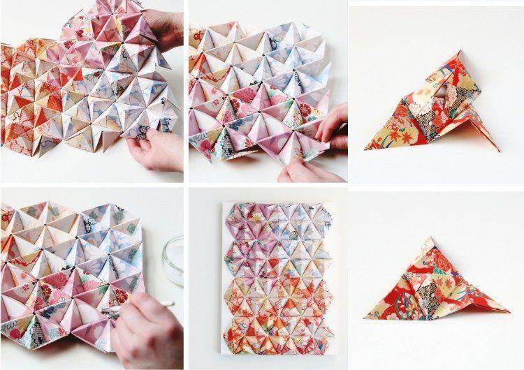 Origami teile im ganzen zusammenf gen und arrangieren for Wanddeko selbst gestalten