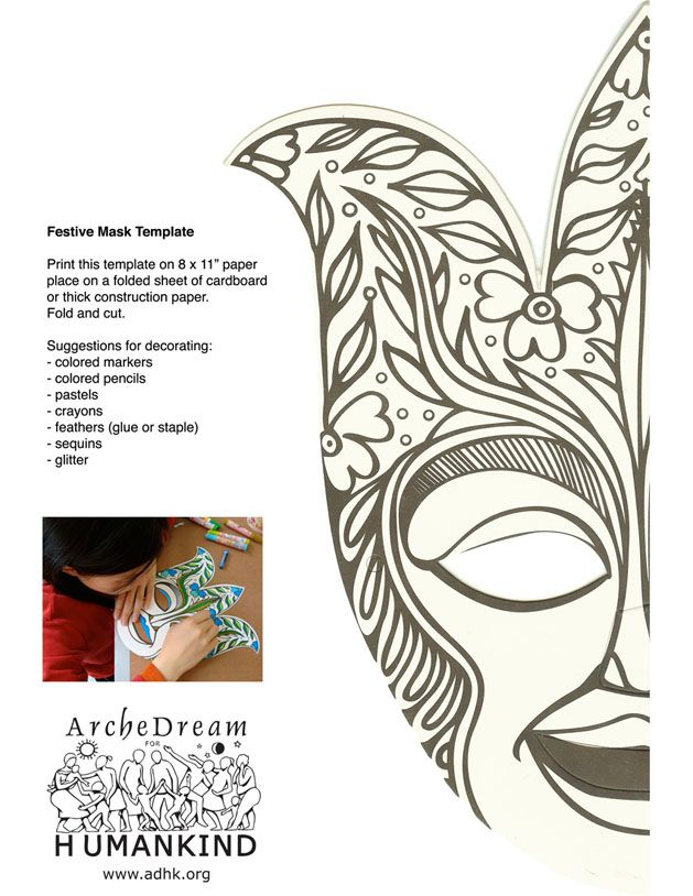 Marie-Grace  cecile Festive Mask Template (Half)- ArcheDream for - half sheet template