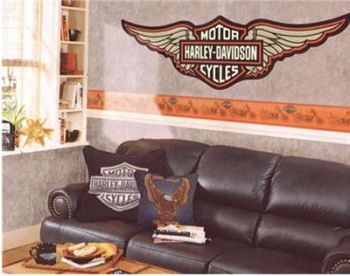 Harley Davidson Wall Decor harley davidson wallpaper borders, wall decals and murals | office