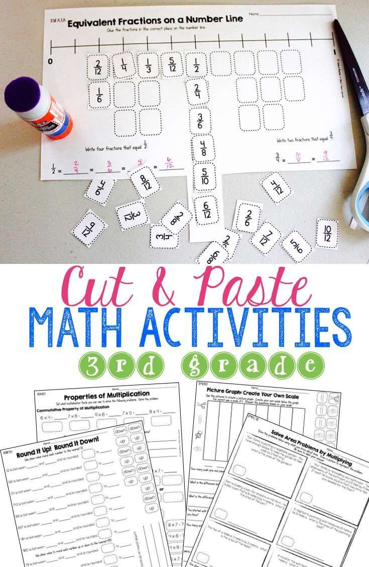 worksheet Cut And Paste Worksheets For 3rd Grade fraction number puzzles for third grade comparing fractions equivalent and puzzles