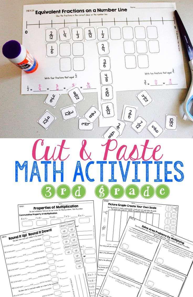 Third Grade Cut & Paste Math Activities | Third grade, Math ...