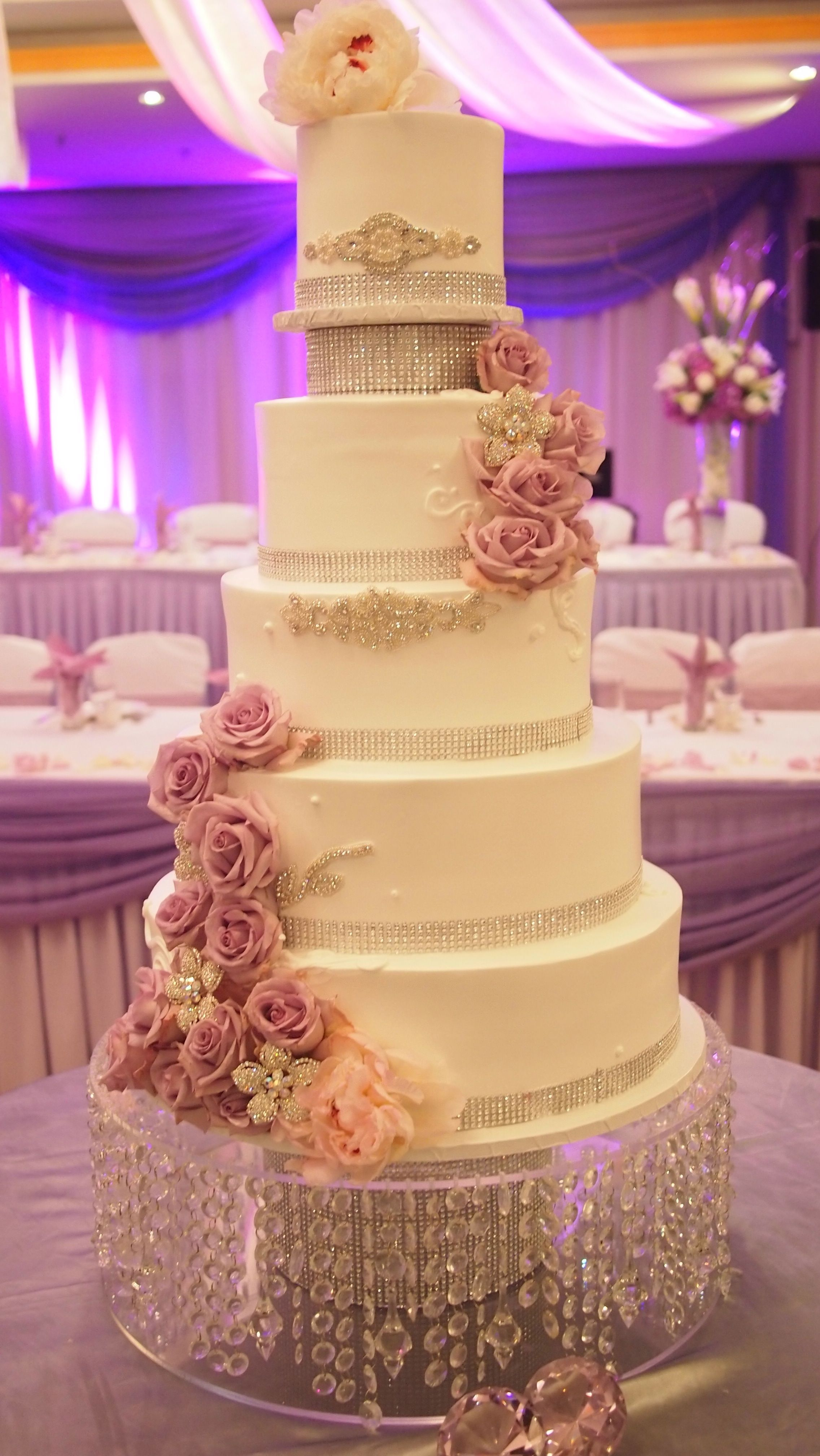 pink roses and cristal beats wedding cakes | Purple Roses and ...