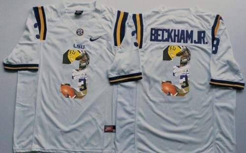 4d7cccbcdad1d6 LSU Tigers #3 Odell Beckham Jr White Player Fashion Stitched NCAA Jersey