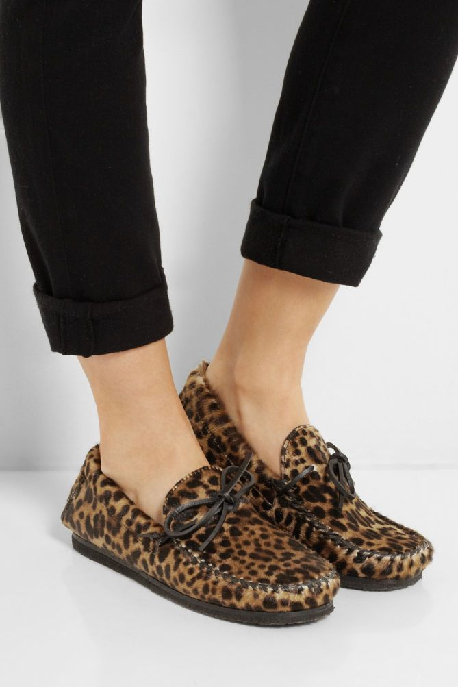 620d0136652 ISABEL MARANT Étoile Fell Leopard-print Calf Hair Moccasins