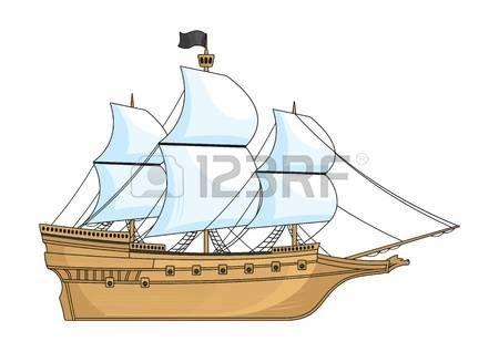 Barco histórico aislado en blanco. Foto.