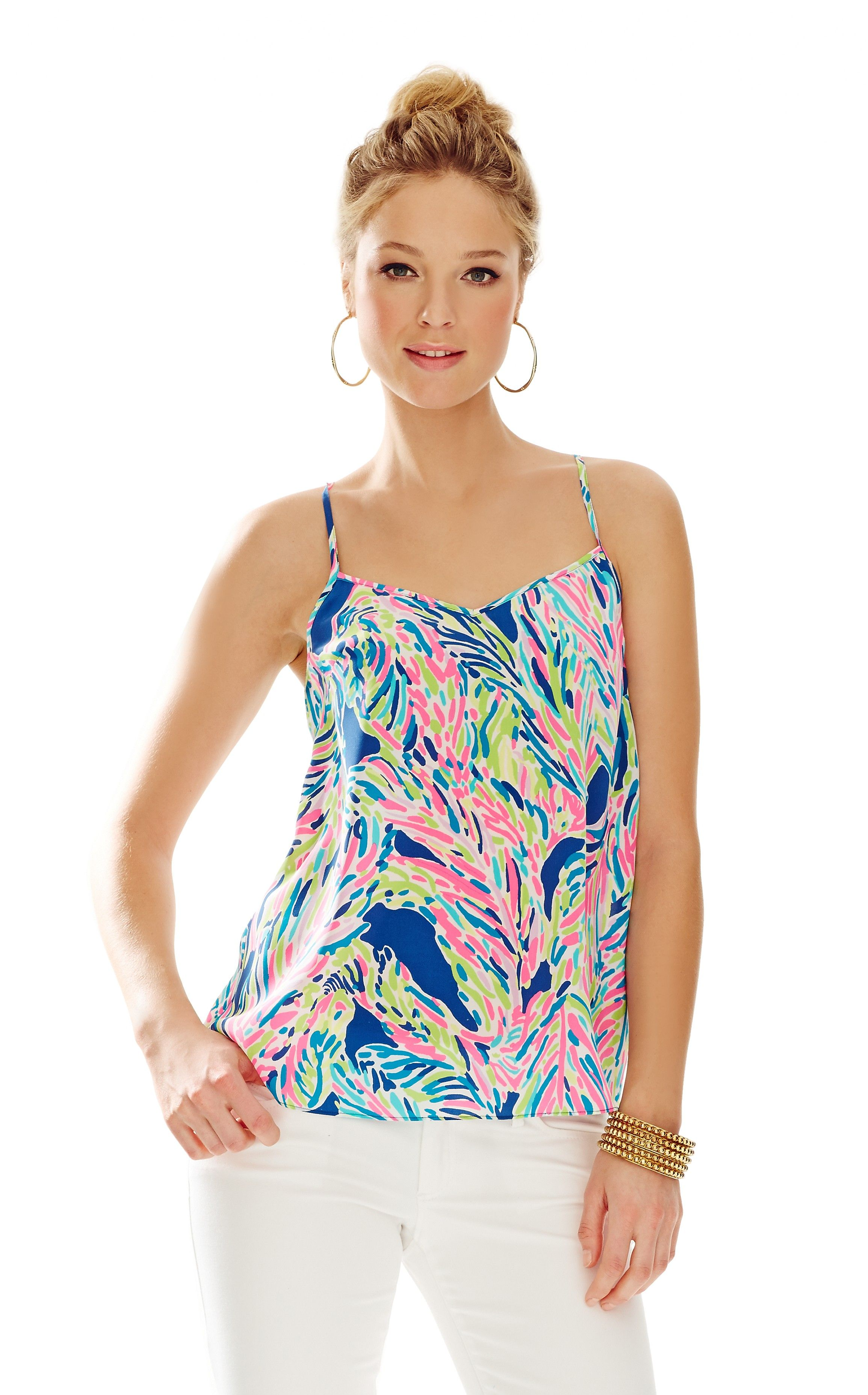 2243ae7ab61 Sleeveless Spaghetti Strap Racer Back Tank With Adjustable Straps. Dusk Top  by Lilly Pulitzer www.ShopSandestin.com  lillypulitzer  shopsandestin   sandestin