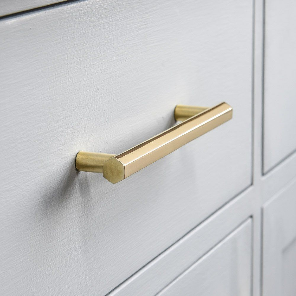 Brass Bart Pull Handle In A Hexagon Profile Cupboard Handles Brass Cabinet Pulls Polished Brass