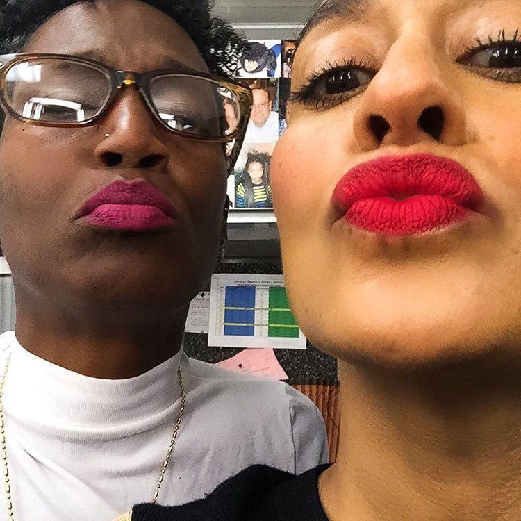 "Tracee Ellis Ross on Instagram: ""#Lipstick fun! I'm wearing @maccosmetics #RubyWoo with a #MACCosmetics Cherry pencil, and @happynadyne is wearing MAC #FlatOutFabulous with a @loraccosmetics Magenta pencil #blackish"""