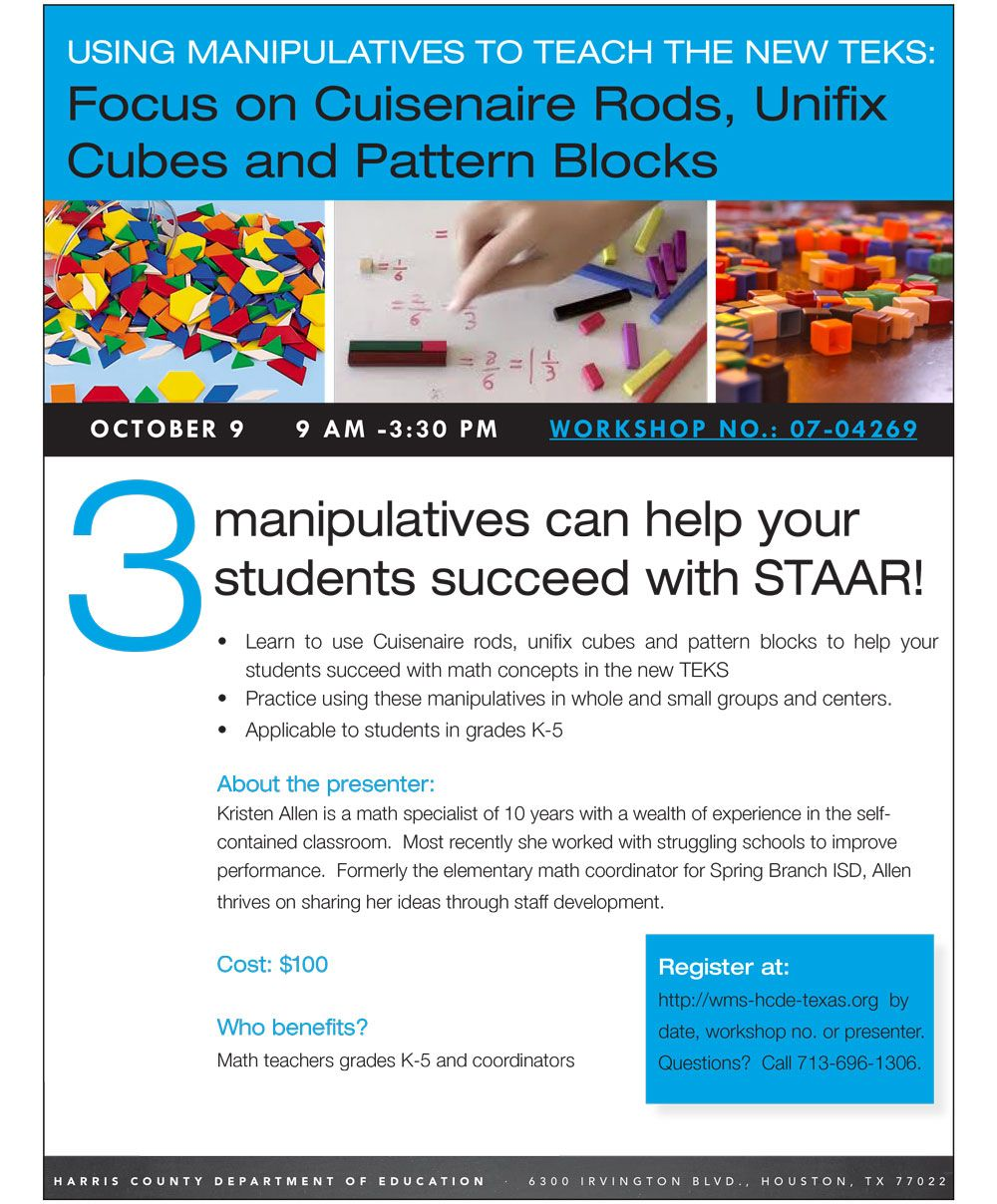 Using Manipulatives To Teach New Teks Three Manipulatives Help Your Students Succeed With Staar On Oct 9 We Focu Cuisenaire Rod Middle School Math Teaching