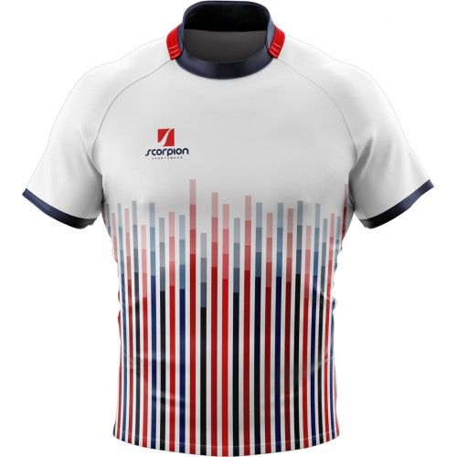 Sky Blue And White Rugby Shirt Design Shown In Competition Fit Shape Deisgn Your Own Or Get This Design At Www Samura Rugby Uniform Rugby Shirt Sport Fashion