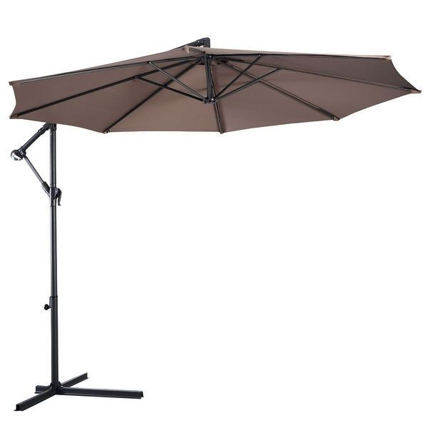Costway 10 Hanging Umbrella Patio Sun Shade Offset Outdoor Market W T Cross Base