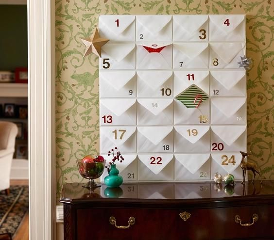Okay this is cute, and something you could still make even though it's the 3rd. :: Make your own Advent calendar using lined envelopes and stick-on-numbers to transform a large bulletin board.