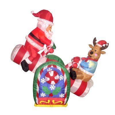 The Holiday Aisle Christmas Inflatables Animated Santa Reindeer