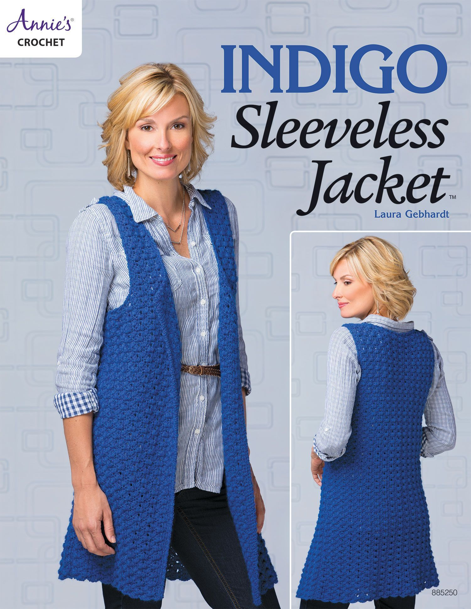 Indigo sleeveless jacket products pinterest products indigo sleeveless jacket crochet pattern leaflet stunning over leggings or a dress for office or evening sizes bankloansurffo Gallery