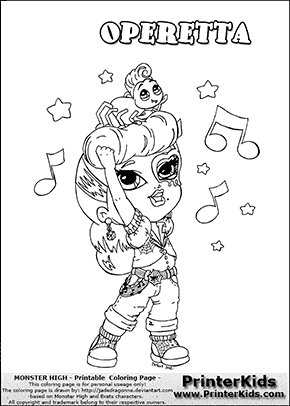 Monster High Operetta Baby Chibi Cute Coloring Page Preview Raskraski Kukolki Tvorchestvo