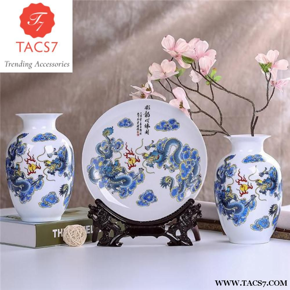 Traditional wedding decor blue and white  Antique Jingdezhen Flower Vase Traditional Chinese Style  Flower
