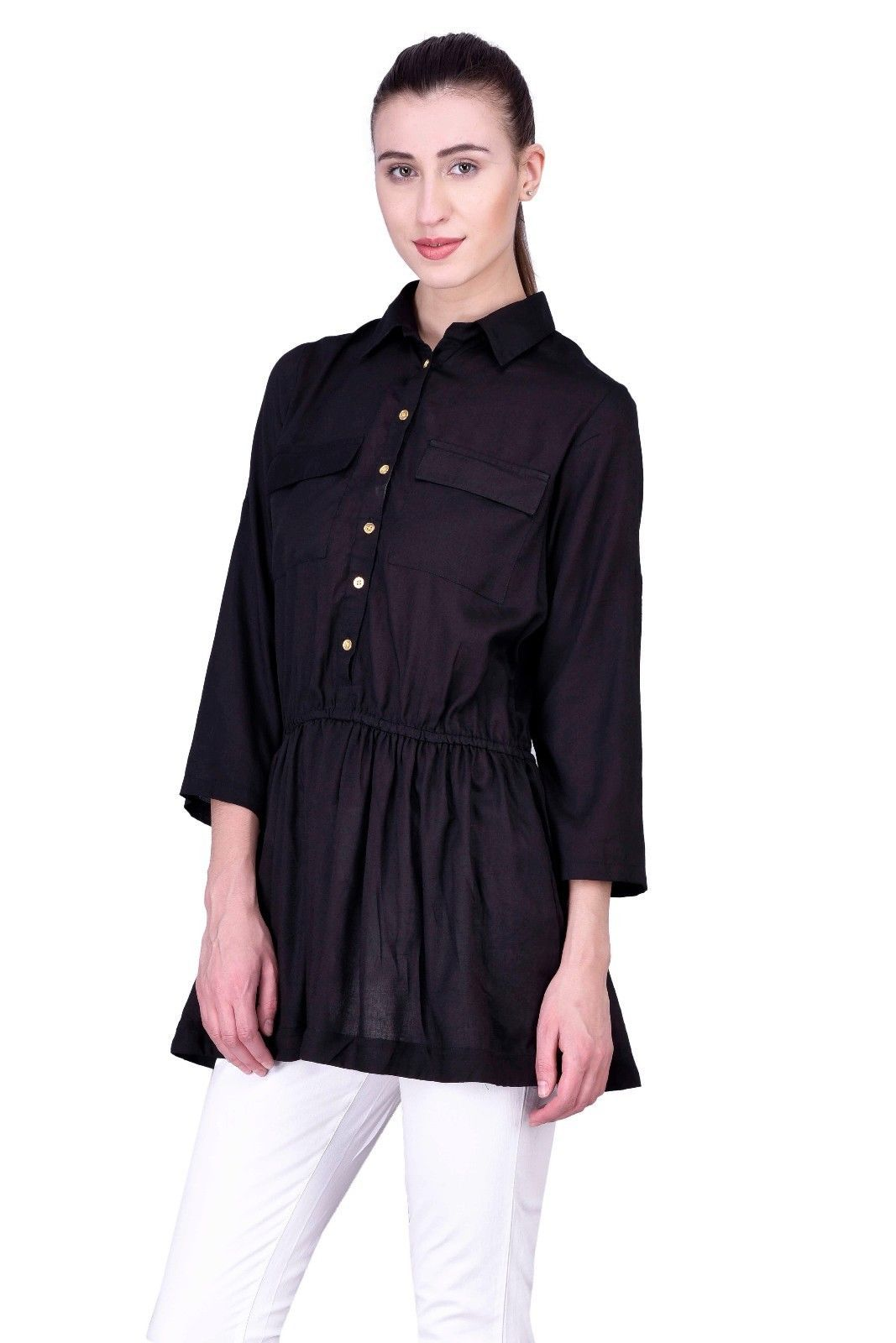 Black Laabha Women Fashion Top Blouse T-shirt Rayon Solid Shirt