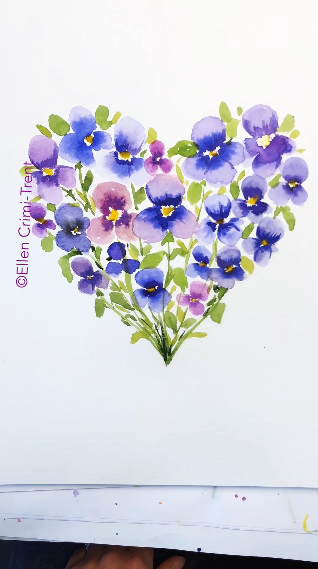 Photo of Pansy floral watercolor Heart