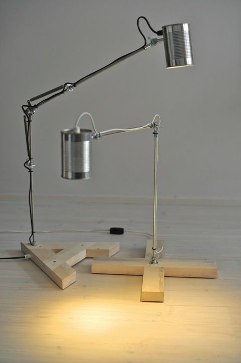 use tin cans as lampshades for table lamps - Licht der Stiftung - Lamparas Caseras