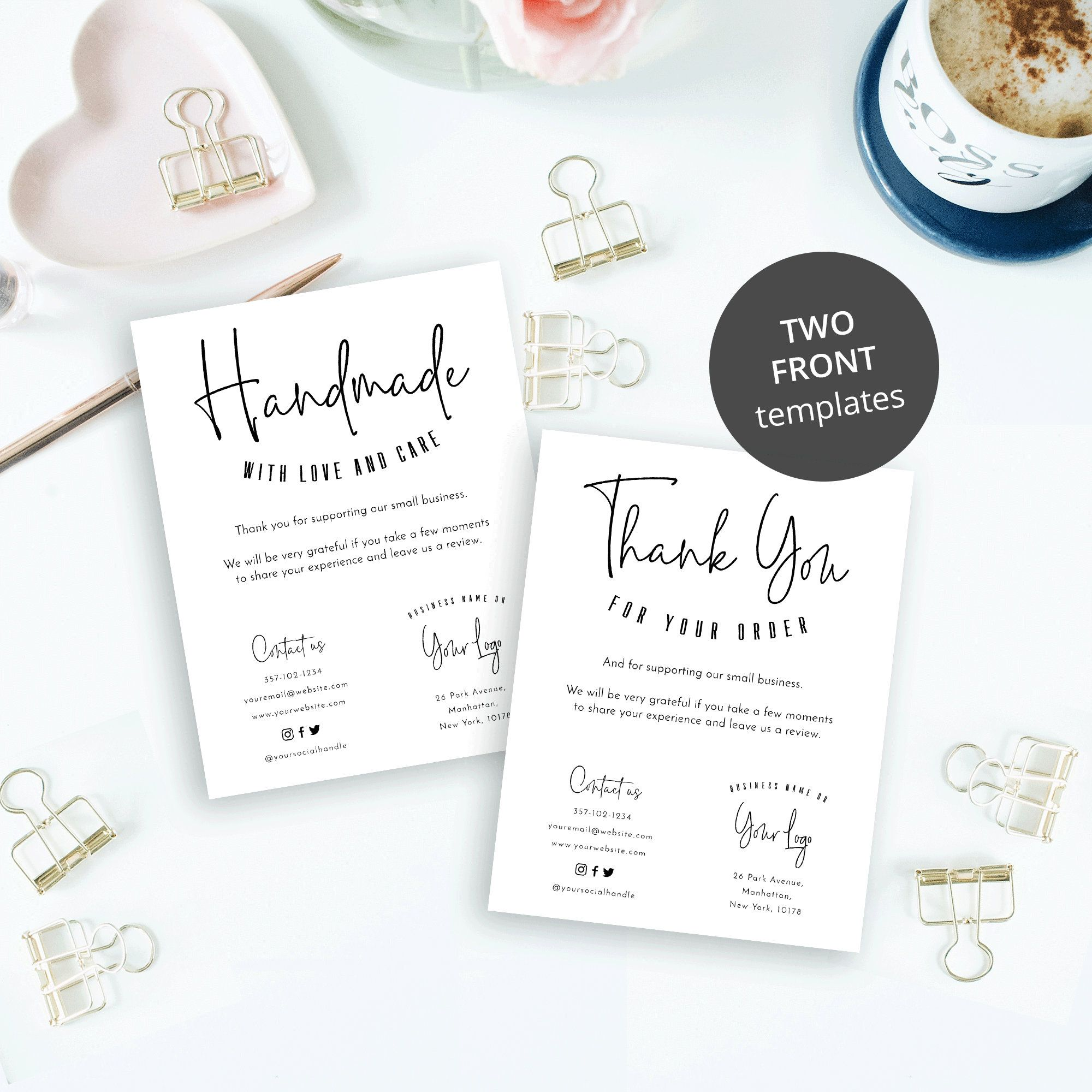 Business Thank You Card Thank You For Your Order Card Etsy Business Thank You Cards Thank You Card Template Printable Thank You Cards