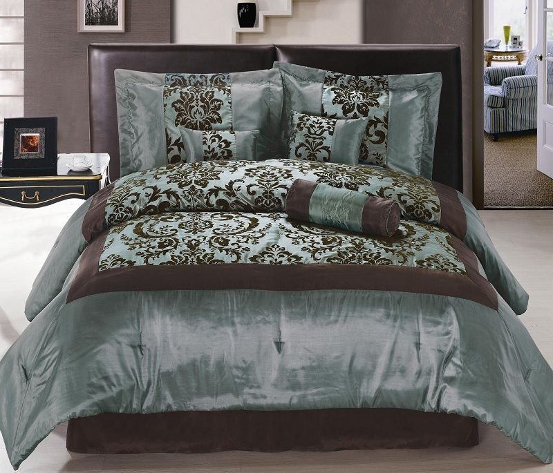 Blue And Chocolate Bedding Sets Auqa Blue Brown Flocking