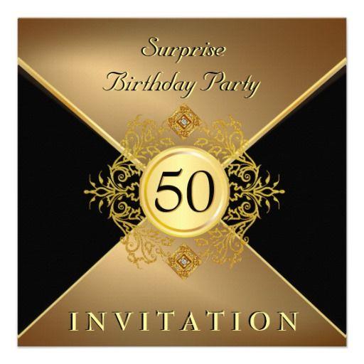Elegant Gold Black 50th Birthday Surprise Party In Invitation Zazzle Com Surprise 50th Birthday Party 50th Birthday Surprise 50th Anniversary Invitations 50th surprise birthday invitations