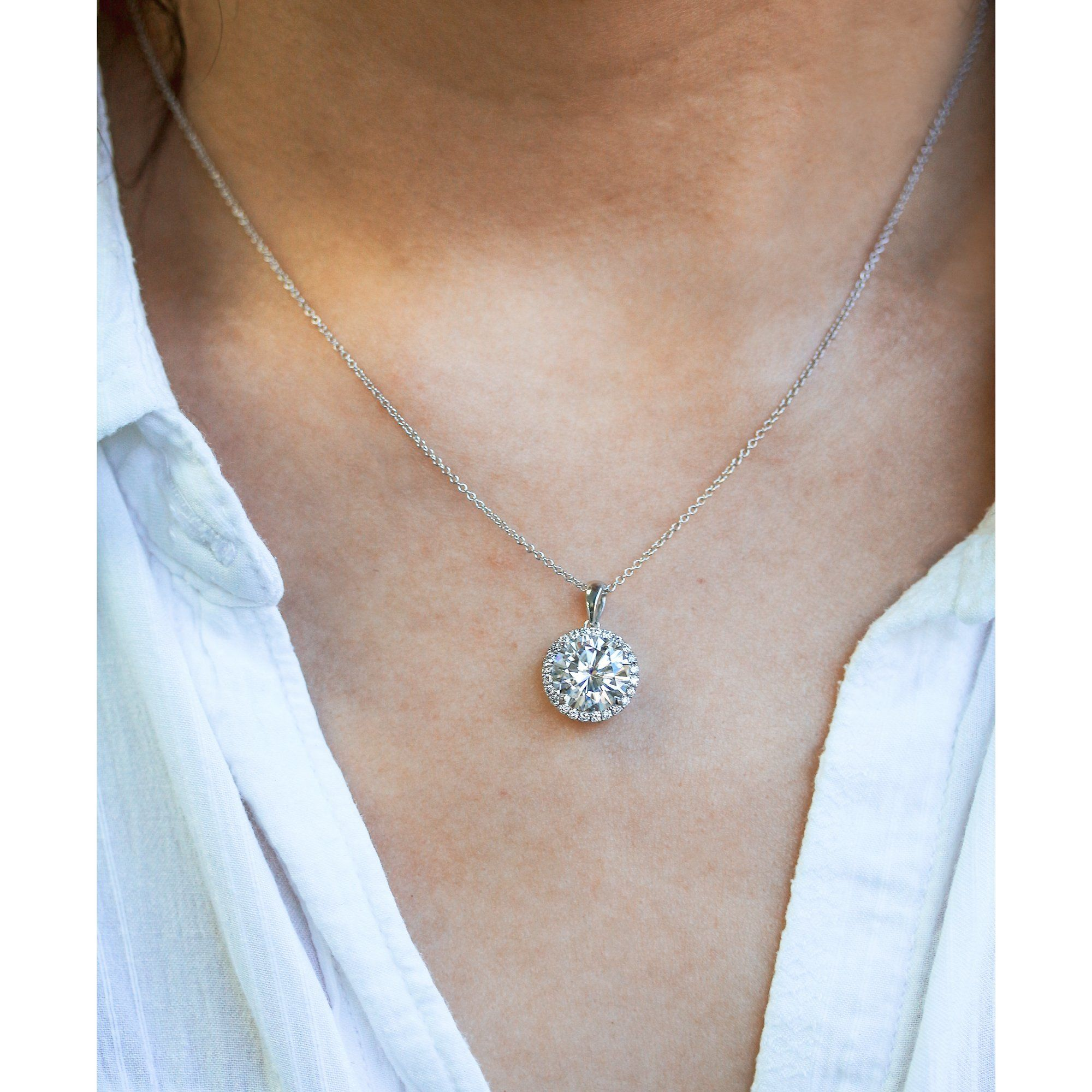 Moissanite And Natural Diamond Halo Necklace Diamond Necklace Simple Diamond Moissanite Necklace