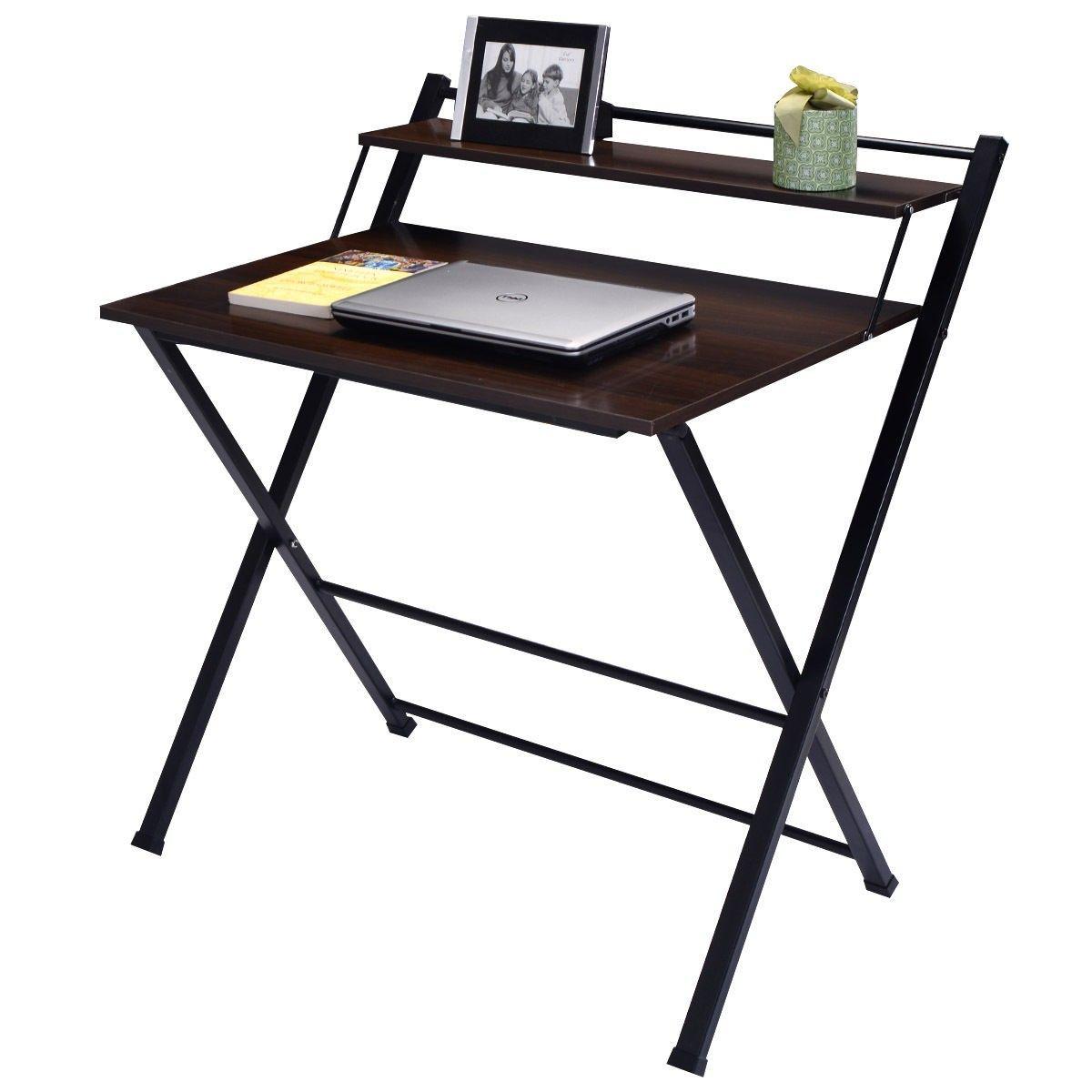 2 Tier Foldable Desk Computer Office