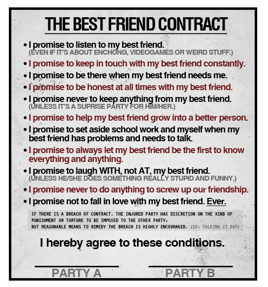 printable friendship contracts | printable friendship contract ... - Friends Quotes Coloring Pages