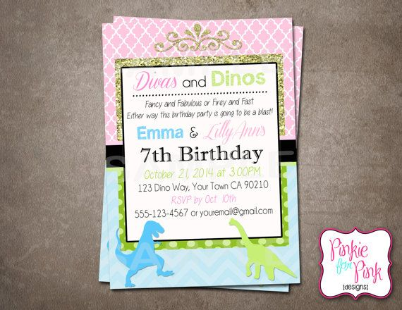 Personalized Dinos and Divas Joint Birthday Party Invitation