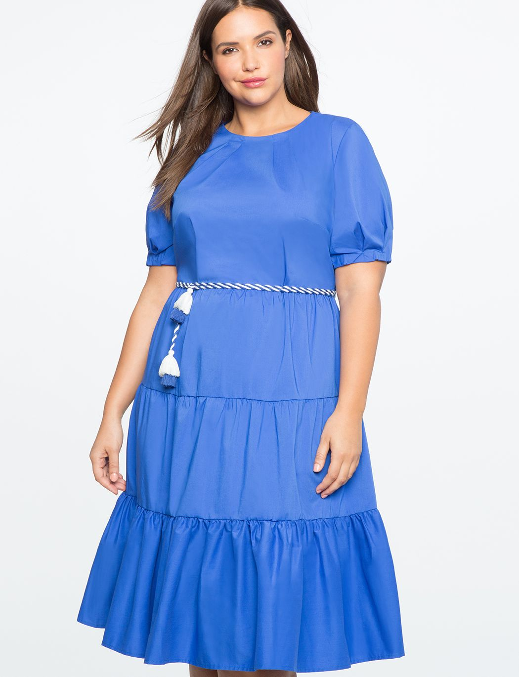 Tiered puff sleeve dress with rope belt surf the web for plus size