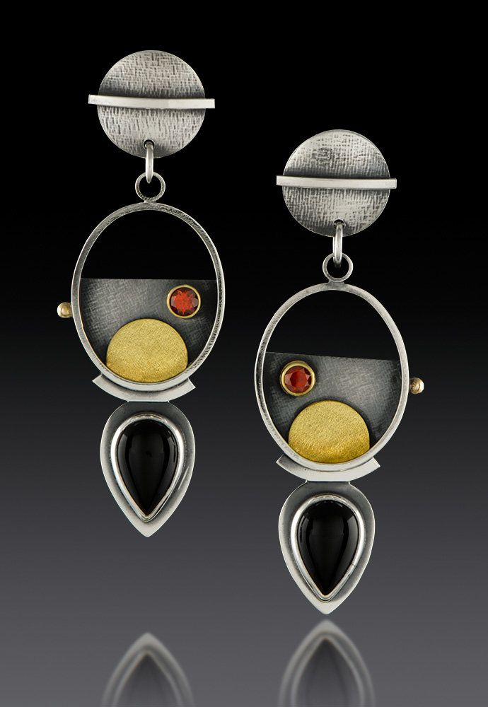 a9220e725 Handmade Oval Hanging Pear Earrings by Michele Levett, sterling silver, 18k  gold, garnets and pear-shaped onyx cabochons. Modern earrings - Drop  Dangling ...