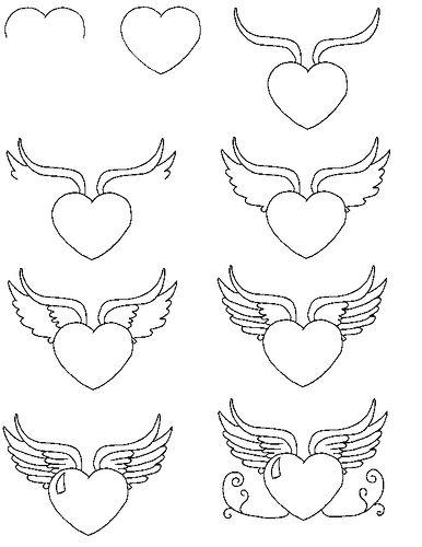 hartje met vleugels tekenen vleugels tekening tekenen