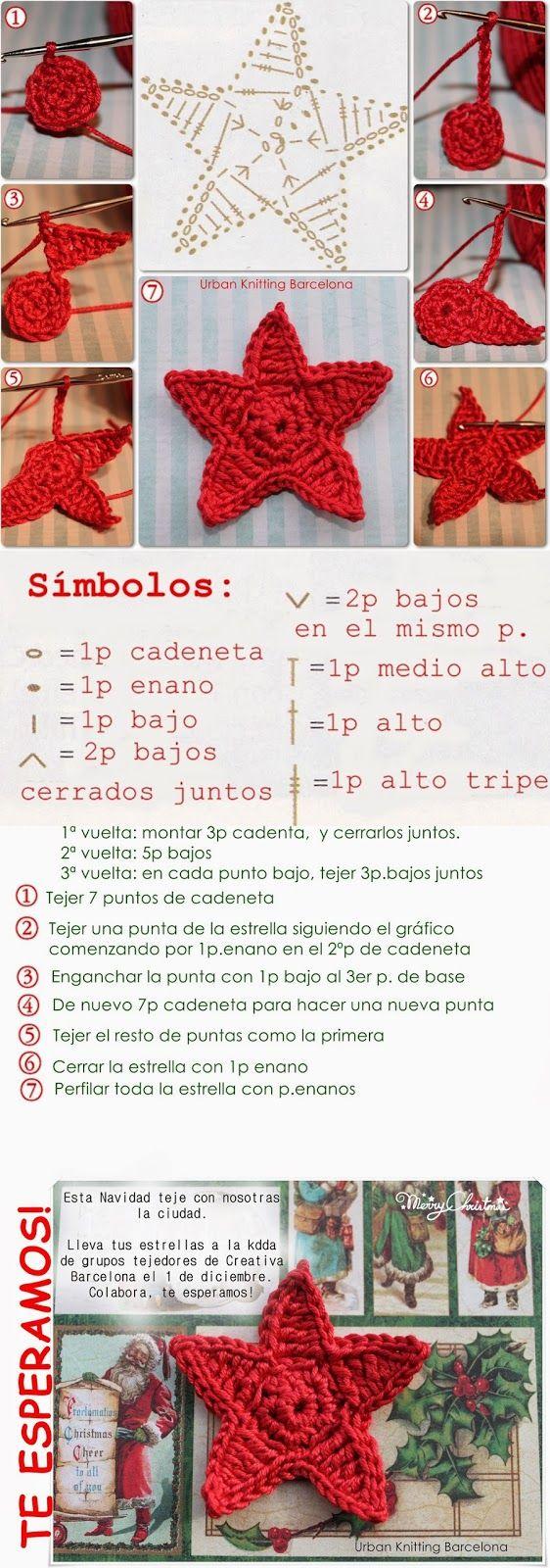 Crochet Star - Chart ❥ 4U // hf | Crochet | Pinterest | Crochet ...
